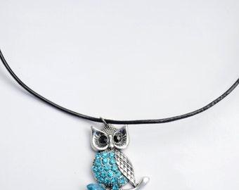 Blue Owl Necklace, Owl Pendant Necklace, Blue Owl Charm Necklace, Necklace, Charm necklace, Leather Cord Necklace