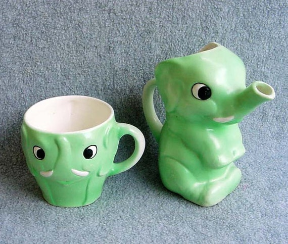 30s Goebel Elephant Pitcher Cup German Childs Matching Set Green Black Eyes Porcelain Figural Happy Elephant Jug Mug Children 4 Tall Vintage