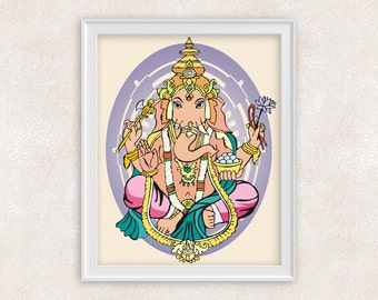 Ganesha Print - The Remover of Obstacles - Hindu Art - Intellect & Wisdom - Ganpati Ganesha - 8x10 - Item #513
