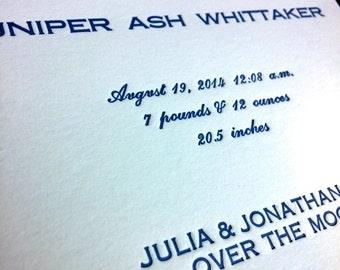 Juniper & the Owl Letterpress and Original Linocut Baby Birth Announcement  -DEPOSIT
