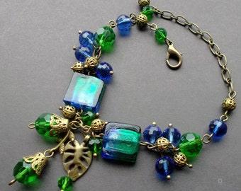 bracelet blue green LAMPWORK. crystal Czech. bracelet crystal. bracelet LAMPWORK. blue green bracelet. details Antique Brass