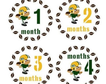 Monthly Stickers Monthly Baby Boy Sport Stickers Green Bay Packers Stickers Football Sports Monthly Stickers Waterproof Baby Shower Gift