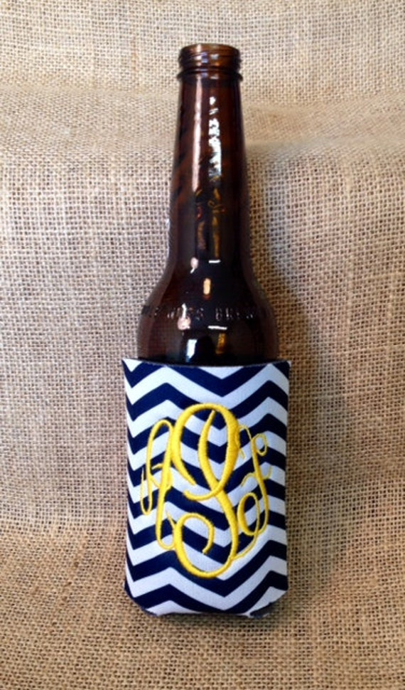 Monogrammed Can Sleeve, Personalized Beer Hugger, Monogrammed Gifts, Beer Gifts, Tailgate Party Favors, Navy Chevron, Navy Blue and Gold