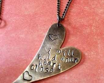 Heart Hand Stamped Copper Necklace