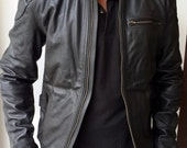 Mens Black Leather Jacket  Slim Style Body Fitting Real Leather  Real Feel Fully Lined.