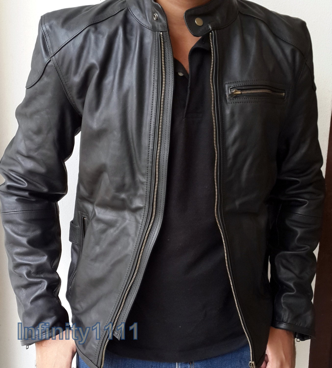 Mens Black Leather Jacket Slim Style Body Fitting Real