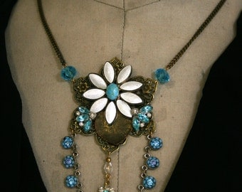 Rhinestone and Enamel Assemblage Necklace