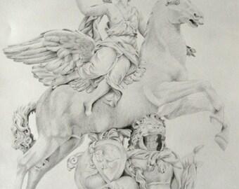 "crayon drawing ""Pegasus"" classic sculpture mythology son of medusa"