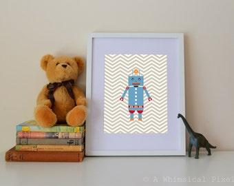 Robot Chevron Children's Wall Art Print 8x10 or 5x7 inches