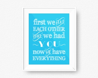 Turquoise Nursery printable, First we had each other, blue nursery printable, digital file, turquoise blue nursery, then we had, printable
