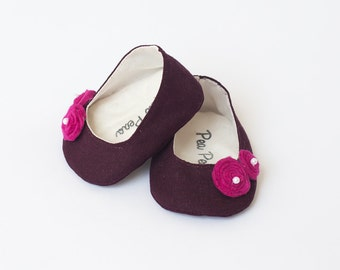 Baby Shoes Baby Girl Shoes Toddler Girl Shoes Soft Sole Shoes Fall Shoes Winter Shoes Purple Shoes Baby Girl Shoes Eggplant color Shoes