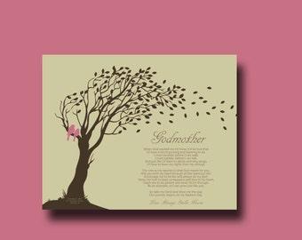 GODMOTHER gift - Personalized gift for Godparents - Gift from Godchild - Personalized Godmother Print - Godmother Keepsake TREE