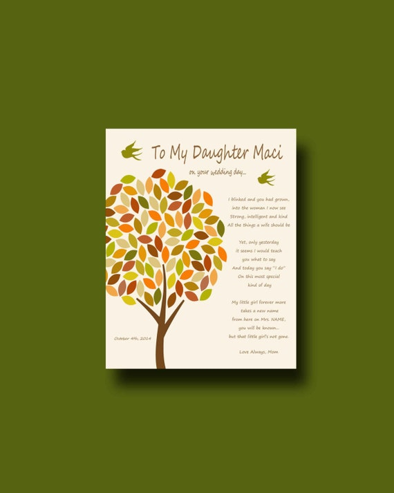 ... Parents, mother to daughter wedding gift, daughter wedding gift, Fall