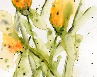 "Watercolour ""Yellow flowers"""