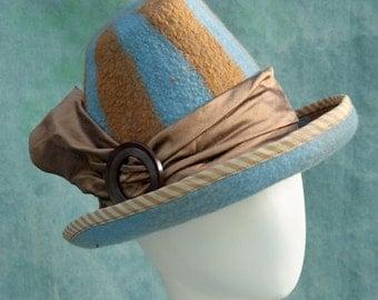 "Victorian Witch Hat - Size 22 1/2"" - Immediate Ship - Hand Felted Merino Wool - Orange - Blue - Stripes - Silk Band"