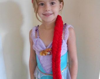 Princess Ariel wig braid for costumes, Fishtail braid style, Red Braid, Little Mermaid Ariel inspired