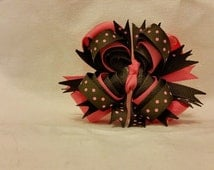 Brown and Pink Butterfly Boutique stacked bow