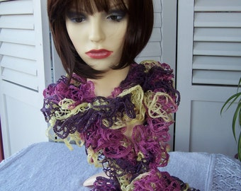 Hand Knitted Purple And Yellow Flamenco Frilly Scarf