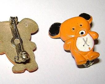 ORANGE BEAR-Orsetto Orange 70s-lotto 5 mini enameled metal pins new