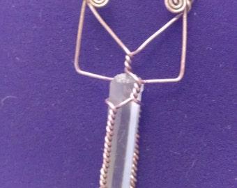 Lemurian crystal pendant
