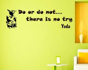 Wall Decals Yoda Star Wars Quote Decal Do or Do Not  Sayings Sticker Vinyl Decals Wall Decor Murals Z284