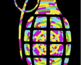 Tie Dye Hippy Grenade Snowboard Custom Vinyl Decal Sticker