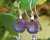 Perfect Pansy Earrings - Etched Czech Glass Flowers and Vintage Glass Beads & Crystals w Argentium Ear Wires / Proceeds Aid Kansas Food Bank