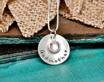 Godmother hand stamped necklace, godmother, personalized godmother necklace, sterling silver necklace, godmother gift