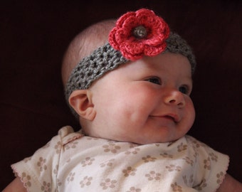 Crochet Headband with Interchangeable Flower