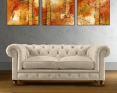 """Abstract Triptych Print on Gallery Wrap Canvas, Modern Art Giclee Print from Original Painting """"Morning Light"""" 16x60, 20x72 Ready to Hang"""