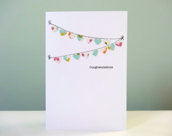 Baby Congratulations Card - new baby card - baby bunting cards - white pink blue yellow - heart bunting cards - newborn baby congratulations