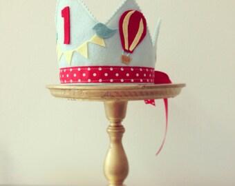 BOY Birthday Hot air ballon and bird Birthday CROWN