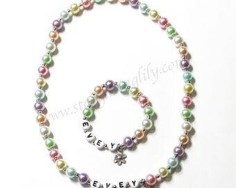 Personalized Name Necklace & Bracelet Set Easter Jewelry for little girls YOU CHOOSE the pearl color and charm Pastel Pearl Jewelry for kids