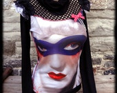 NEW masked victorian Marilyn GREAT SWEATER shirt - big gift idea - Crazy cool ooak You Bad Girl handmade fashion punk art cowl neck fishnet