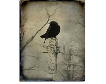Crow Photograph, Gothic Home Decor, Raven,Vintage Colors Print, Bird, Nature Cross, Gothic Crow - Just An Old Blackbird