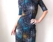 Dark Matter - iheartfink Handmade Hand Printed Womens Black Starburst Art Print Fitted Jersey Dress