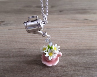 Daisy Flowers In a Teacup Jewelry Necklace - Spring Jewelry - Pink Teacup - White Flower Daisies - Silver Watering Can Charm - Gift for Her