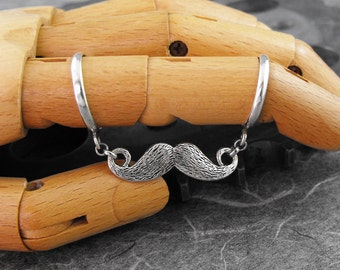 Funny Mustache Silver Ring - The Silly Little Mustache by COGnitive Creations