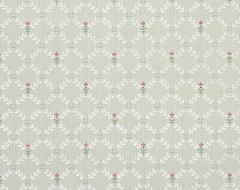 1930's Vintage Wallpaper - Antique Floral with Tiny Pink Tulips on White Geometric