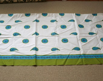 vintage 60s fabric - border print - turquoise and olive mod medallions