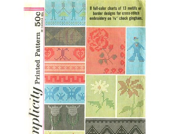 Designs for Cross Stitch on Gingham - Vintage Pattern Simplicity 4726 - Full Color Charts - 13 Designs