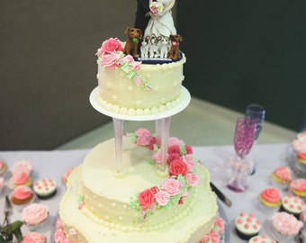 Bride and Groom with Pets Wedding Cake topper