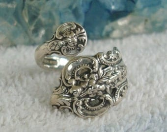 Vintage Wallace Sterling Silver Spoon Ring Grand Baroque  dmfsparkles
