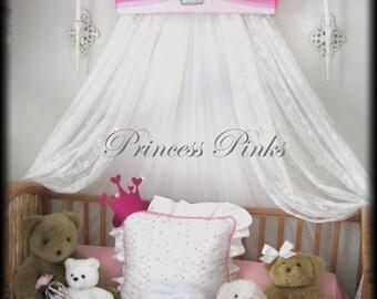 Princess CrOwN PINKS Crib Canopy Upholstered FREE Monogram SALE