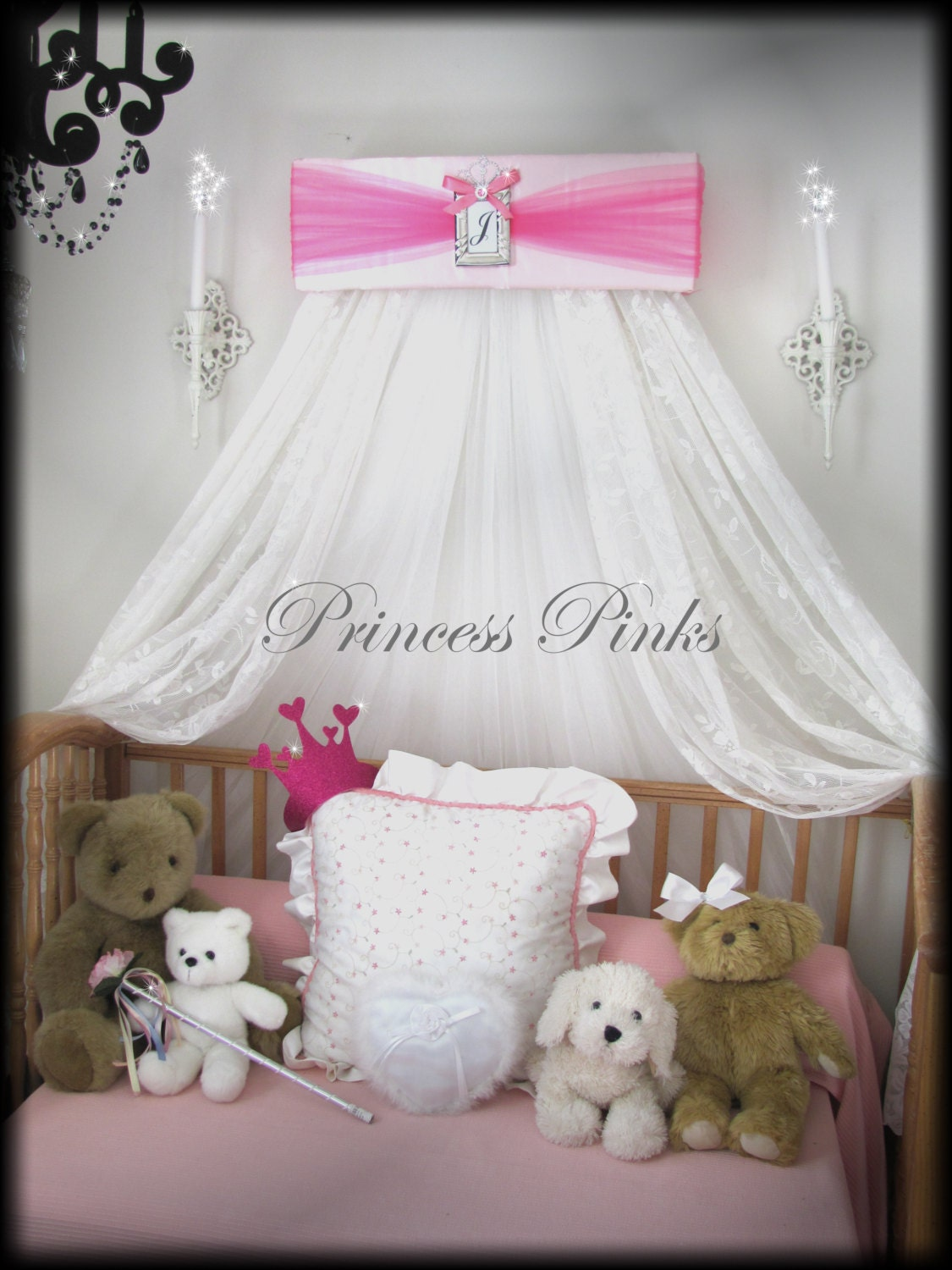 Princess crown tiara pinks crib bed canopy silver frame girls for Diy baby crib canopy