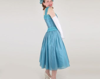 50s Teal Blue Tea Length Party Dress S