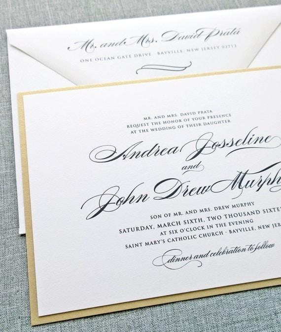 Wedding Invitations Writing: Andrea Script Metallic Gold Layered Wedding Invitation Sample