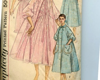 Vintage 1950s Elegant Peignoir Set Simplicity 1850 Pattern Grecian Goddess Nightgown, Open Front Negligee, Brunch Coat Sz 16 B36,