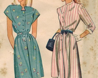 1940s Simplicity 1581 Vintage Sewing Pattern Teen Shirtwaist Frock, Step-In Dress Size 12 Bust 30