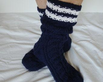 Cable Slipper Socks, Slouch - Lounge Socks, Ankle Socks, Knee High Socks - Women Large - Men Med.